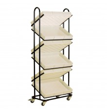 Double-sided shop display trolley. Plastic trays slot into steel frame. Fitted with four swi...
