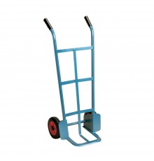 First class heavy duty hand truck on 20cm wheels. 15cm long, hot forged foot iron. Blue enamelled...
