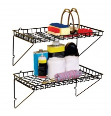 A great solution to the untidy tack room, this convenient shelf also has retaining edges making i...