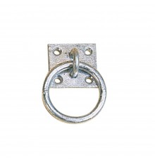 A hefty galvanised product with thick 5cm diameter ring. Four fixing holes in a 5cm square plate,...