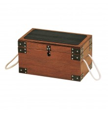 Stylish yet stout wooden construction with slip resistant rubber mat on lid. Fitted with metal re...