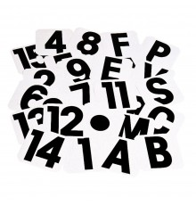 Letters ABCEFHKMRSVP, numbers 1-15, START, FINISH and 'Circle Point'. All supplied individually.