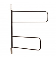Large swivelling loop arms in rust resistant, Black STUBBYFINE coated steel. Compact design - pac...