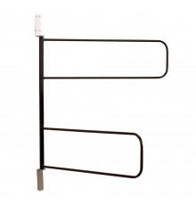 Large swivelling loop arms in rust resistant, Black STUBBYFINE coated steel. Compact design - pac...
