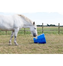 This is a great boredom breaker/slow feeder - and it stops hay blowing around the field. Horses a...