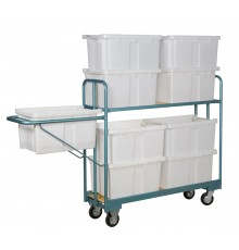Specifically designed for narrow aisle picking the empty boxes are carried in the handle and plac...