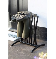 Stylish, yet minimal floor space. Compact, free standing rack - great quality. Solid wrought iron...